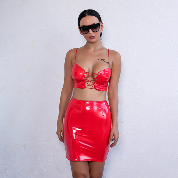 Red Lace Up PU Two Piece Dress - 3 Colors Available