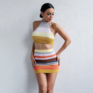 Multi Stripe Crop Two Piece Dress