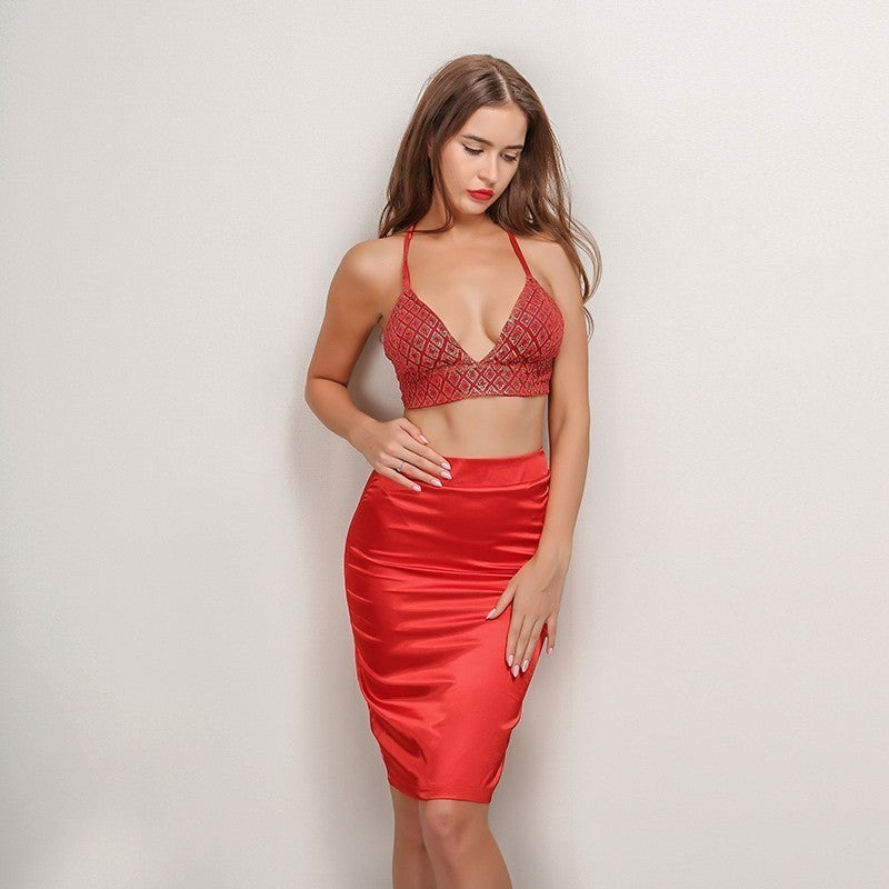cd89499b2e2d7 Red Sequin Crop Top Two Piece Dress - 2 Colors Available – Lust for Body