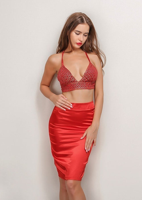 7935c2c3534906 Quick View Red Sequin Crop Top Two Piece Dress - 2 Colors Available ...