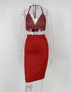 Red Sequin Crop Top Two Piece Dress - 2 Colors Available