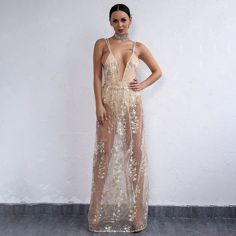 Gold Sheer Embroidery Plunge Maxi Dress