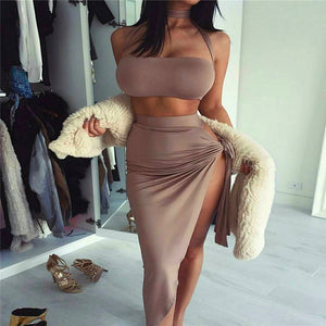 Brown Strappy Ruched Two Piece Dress