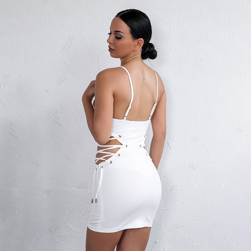 Lace Up Bodycon Mini Dress - 2 Colors Available