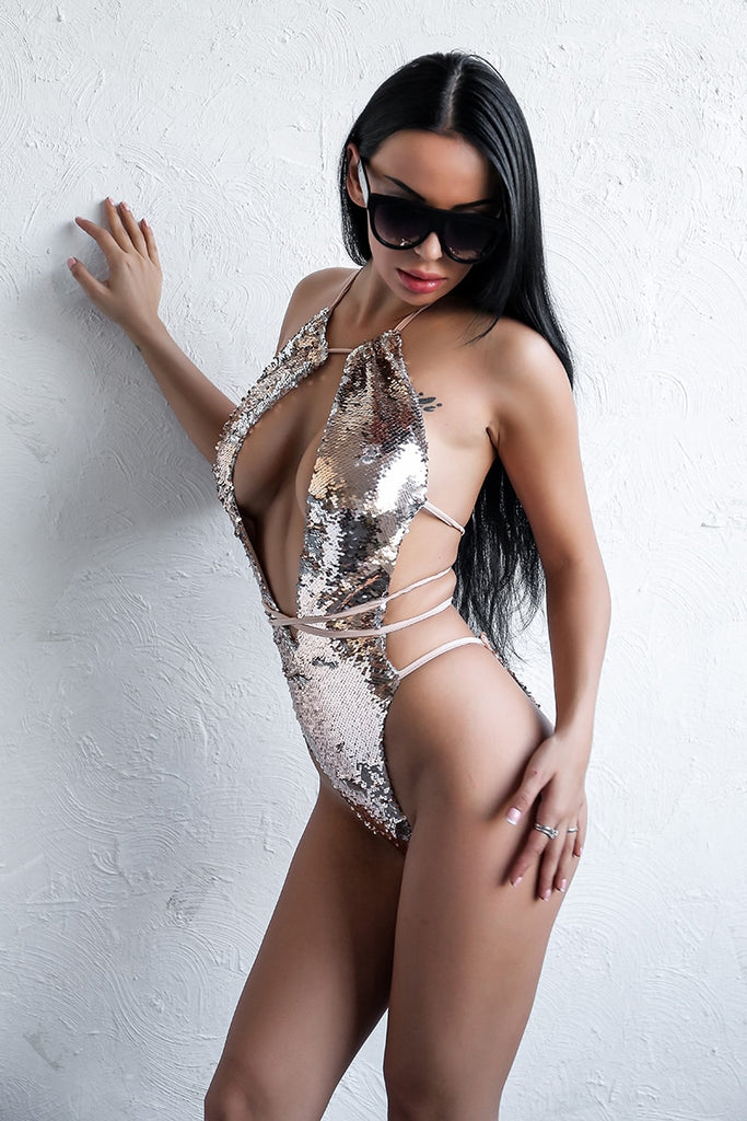 Color Changing Sequin Swimsuit in GOLD
