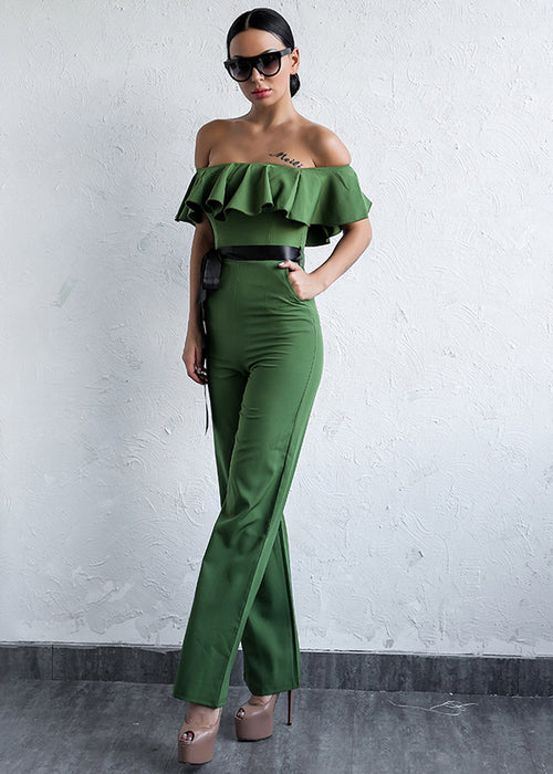 Army Green Ruffle Off The Shoulder Jumpsuit