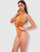 Backless Plunge Halter Swimsuit - 2 Colors Available