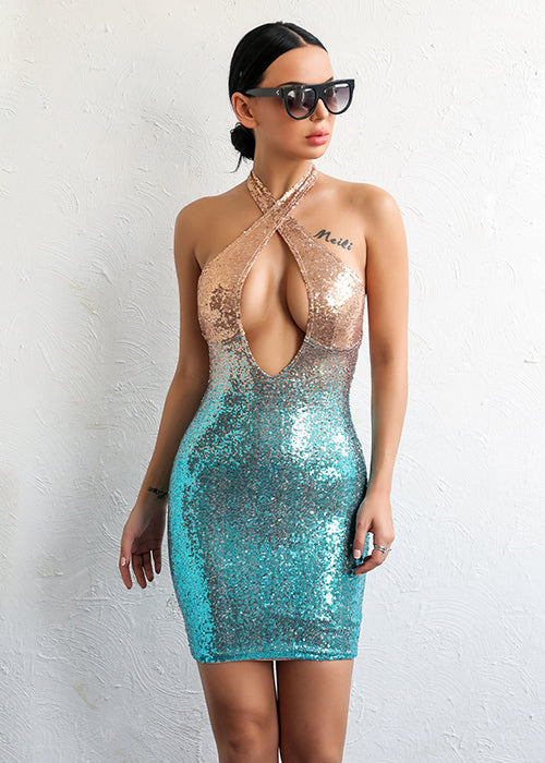 Ombre Sequin Keyhole Bodycon Dress