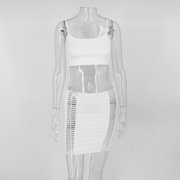 White Cut Out Crop Two Piece Mini Dress - 3 Colors Available