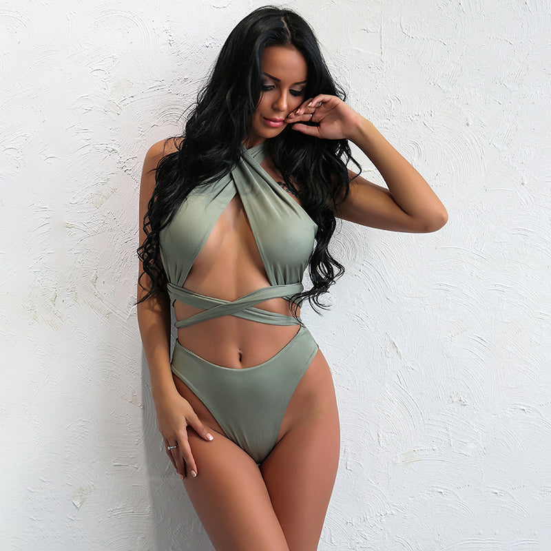 Cross Wrap Halter Bikini Two Piece Swimsuit - 3 Colors Available