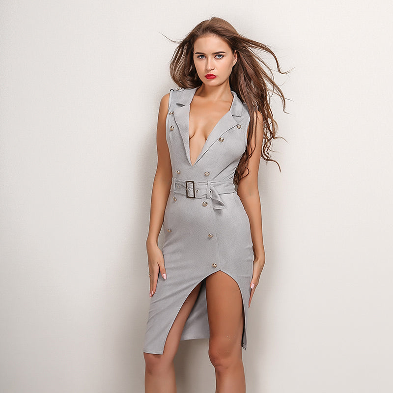 Grey Velvet Button Belted Dress