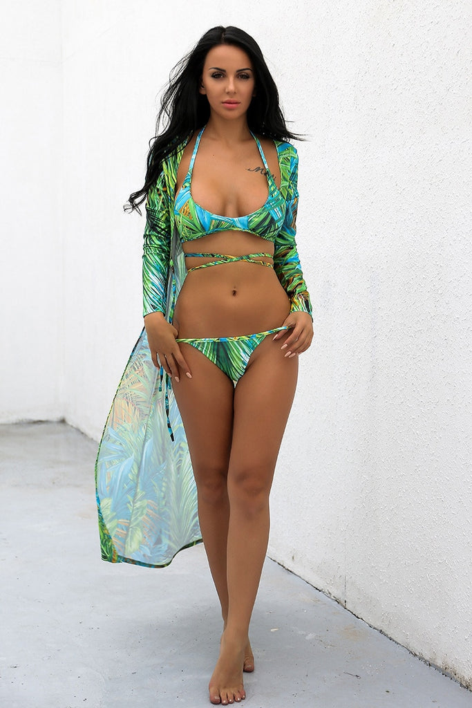 Green Leaf Bikini and Cover-up Three Piece Swimsuit Set
