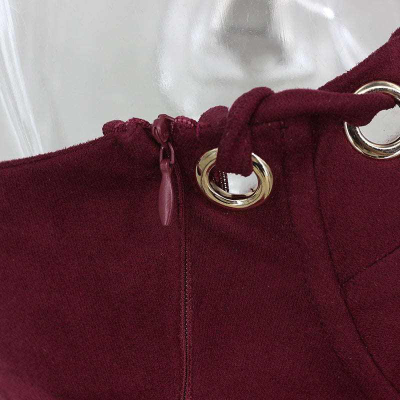 Wine Red Faux Suede Strapless Grommet Bodysuit
