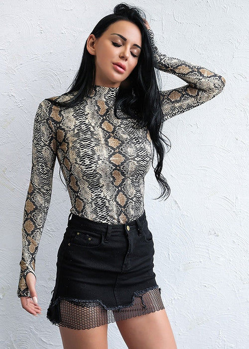 Cleo Long Sleeve Snake Print Bodysuit