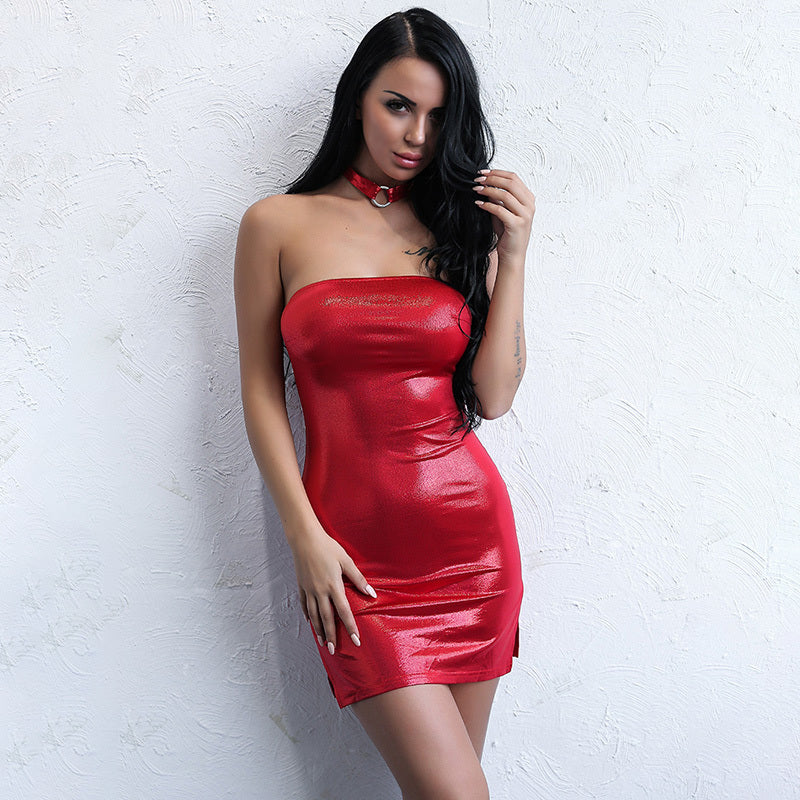 Red Metallic Strapless Mini Dress