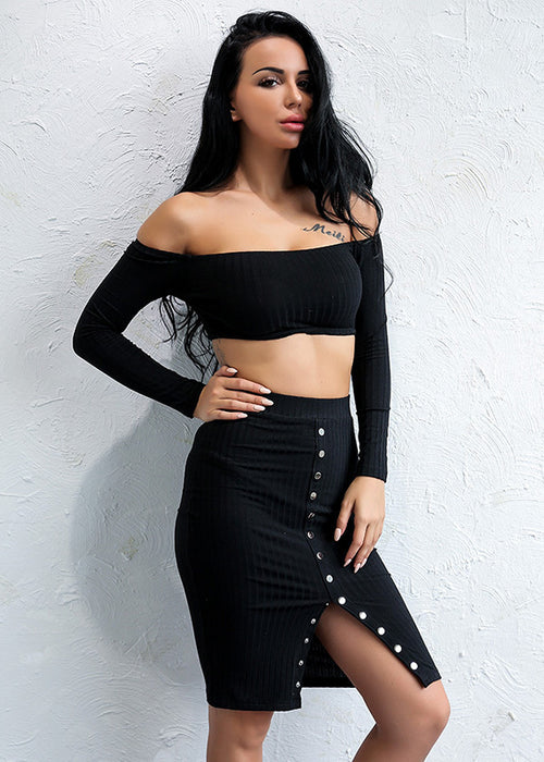 d0503af53c9e8f Quick View Black Crop Top Snap Two Piece Dress - 2 Colors Available ...