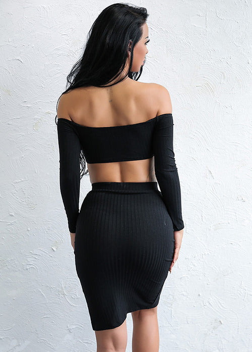 Black Crop Top Snap Two Piece Dress - 2 Colors Available