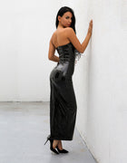 Black PU Strapless Maxi Dress - 2 Colors Available