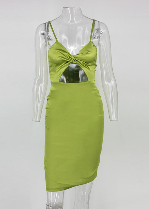 Green Satin Cut Out Mini Dress - 2 Colors Available