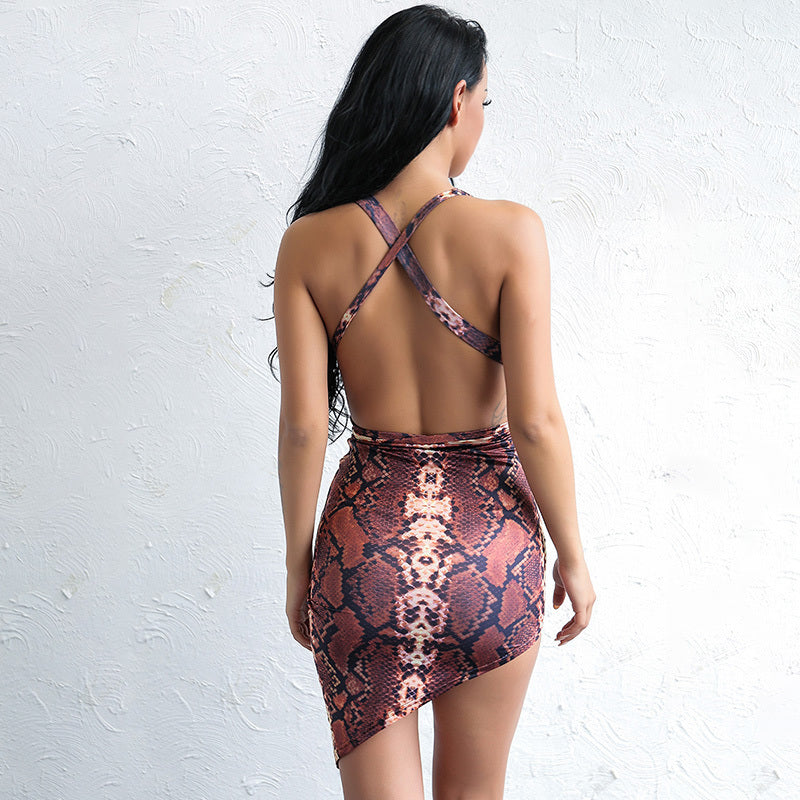 Multi Snake Plunge Wrap Bodycon Dress