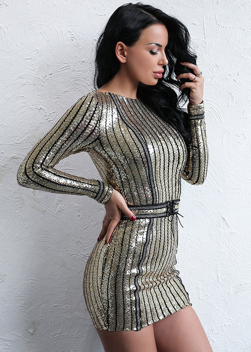 Gold Sequin Stripe Mini Dress