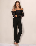 Black Lace Off The Shoulder Jumpsuit