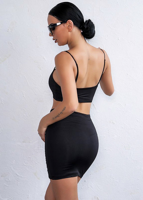 Black Cut Out Crop Two Piece Mini Dress - 3 Colors Available