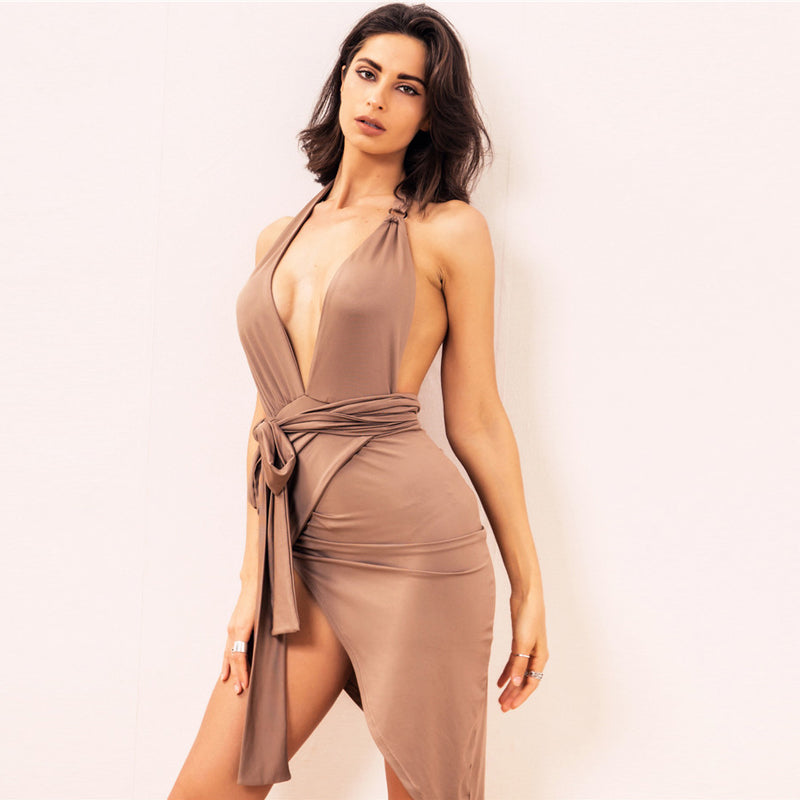 Ruched Asymmetric Backless Halter Dress - 3 Colors Available