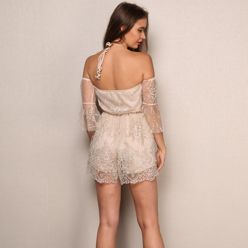 Apricot Embroidery Off The Shoulder Romper