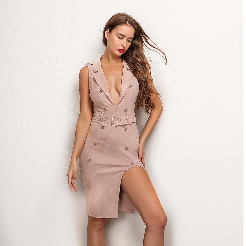 Pink Velvet Button Belted Dress - 2 Colors Available