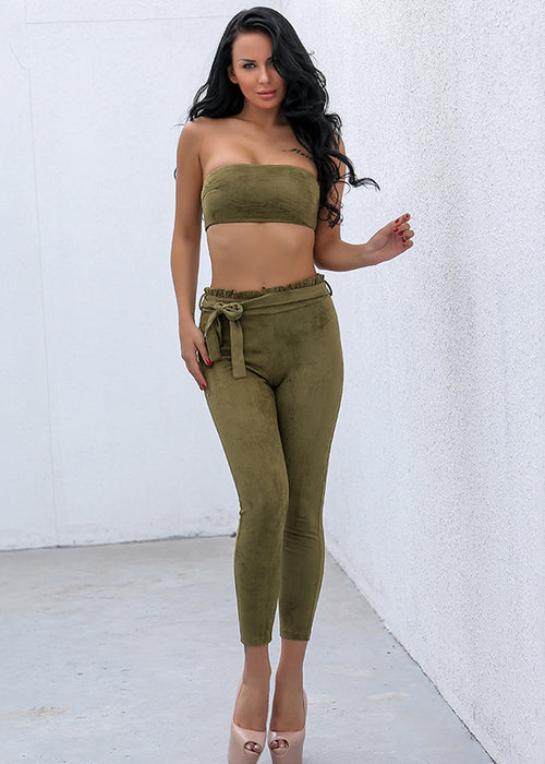 Green Strapless Crop Two Piece Jumpsuit