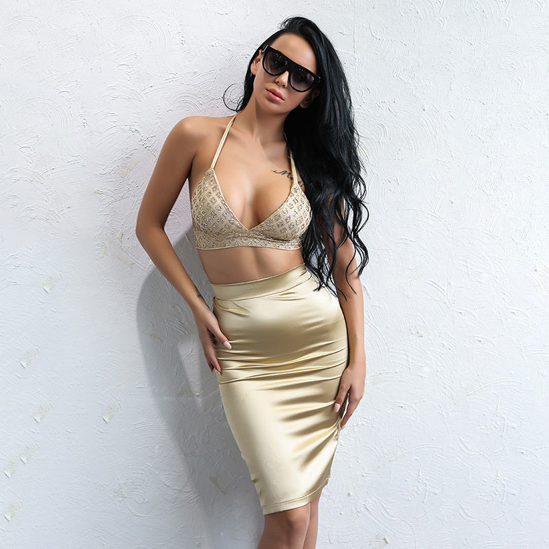Gold Sequin Crop Top Two Piece Dress - 2 Colors Available