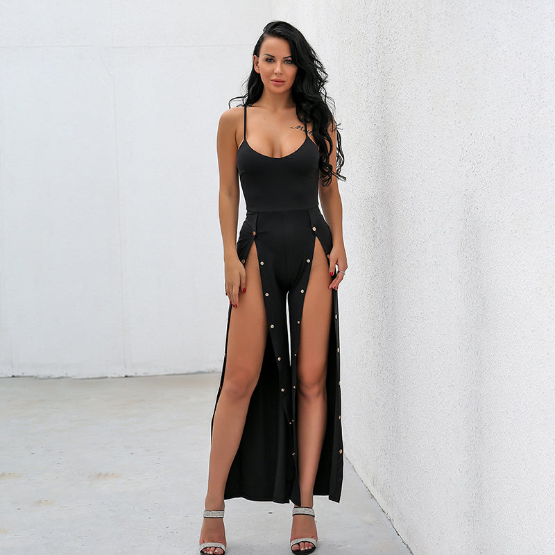 Black Split Leg Snap Jumpsuit