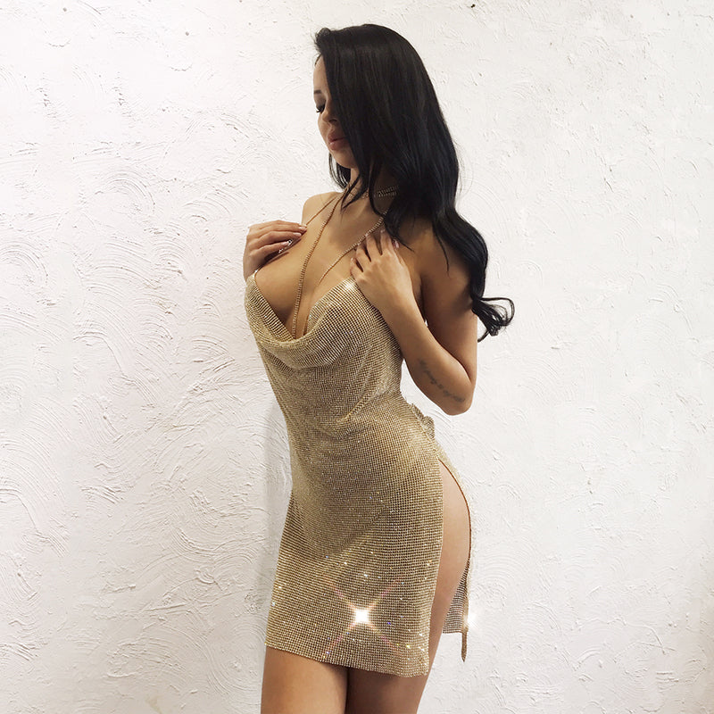 Gold Rhinestone Backless Mini Dress - 2 Colors Available