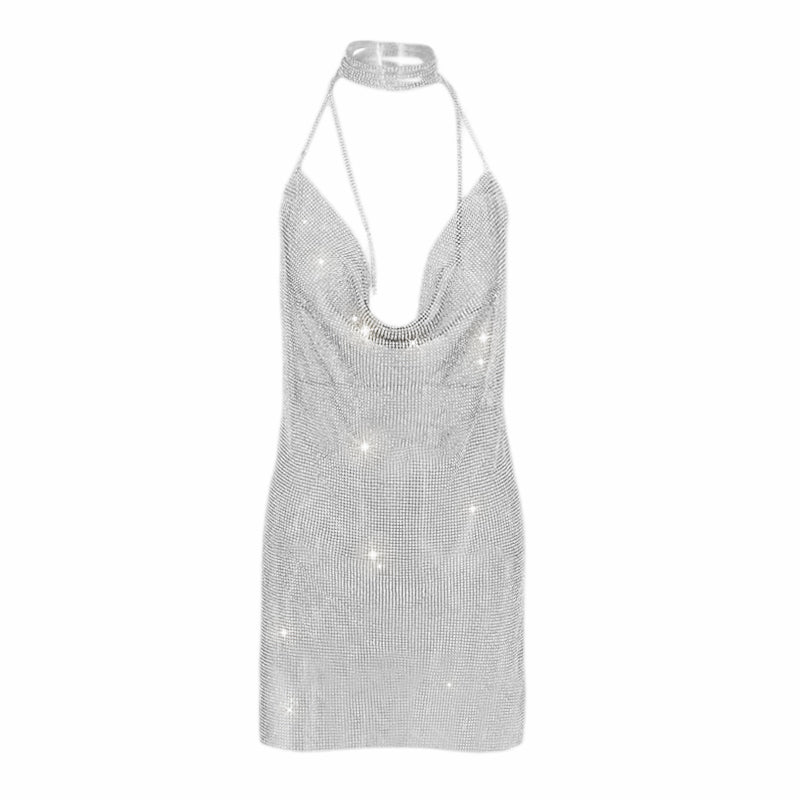 Silver Rhinestone Backless Mini Dress - 2 Colors Available