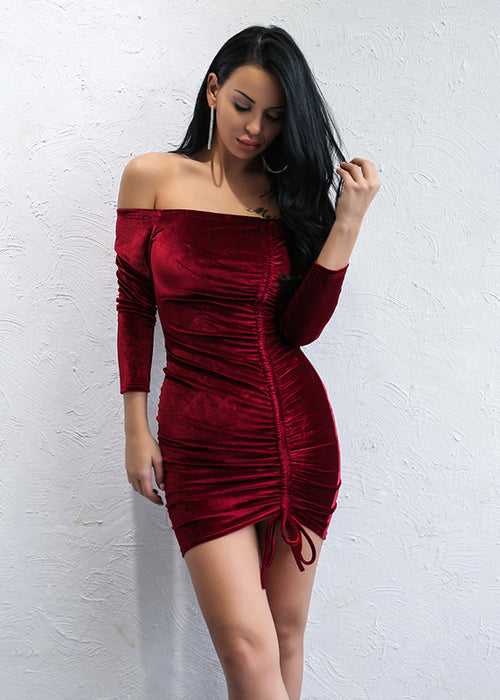 Wine Velvet Ruched Bodycon Mini Dress