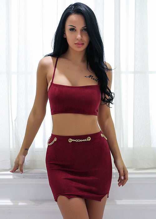 badc3d32711809 Quick View Maroon Faux Suede Lace Up Two Piece Dress - 2 Colors Available  ...