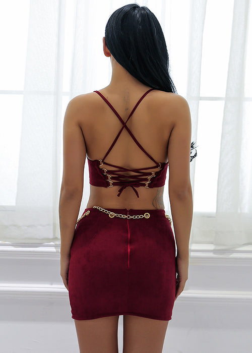 6fd5a874f064da ... Maroon Faux Suede Lace Up Two Piece Dress - 2 Colors Available