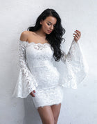White Flare Sleeve Lace Dress