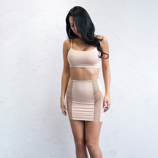 Nude Cut Out Crop Two Piece Mini Dress - 3 Colors Available