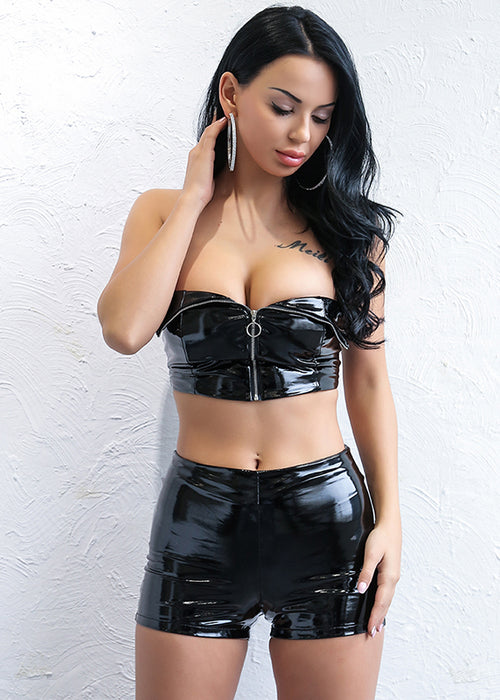 Black PU Faux Leather Crop Bustier Two Piece Romper