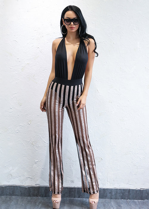 Black Backless Sequin Stripe Jumpsuit