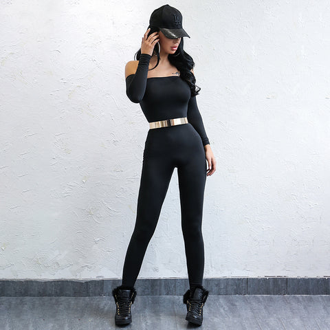 Black Off The Shoulder Bodycon Jumpsuit