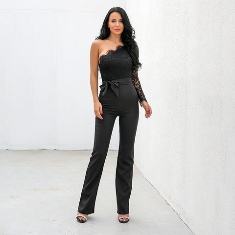 Black Lace One Shoulder Jumpsuit