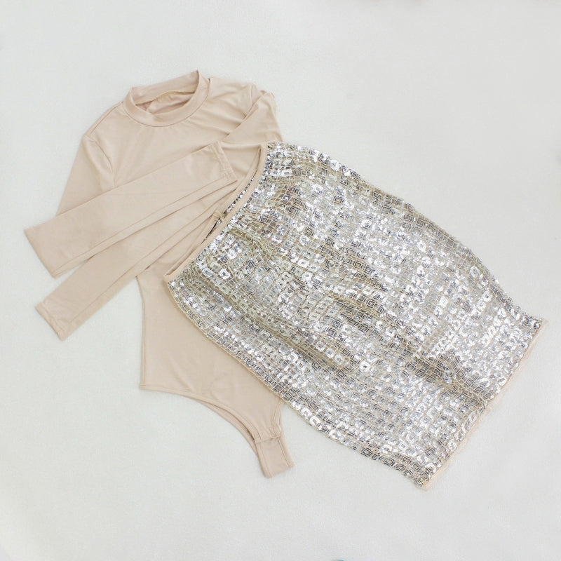Gold Sequin Sheer Mini Two Piece Dress