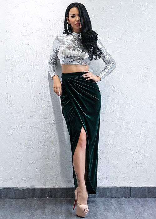 Green Velvet Maxi Skirt - 2 Colors Available