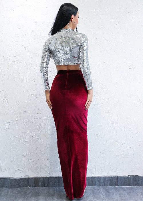 Red Velvet Maxi Skirt - 2 Colors Available