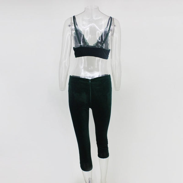 Green Velvet Crop Jumpsuit Two Piece Set