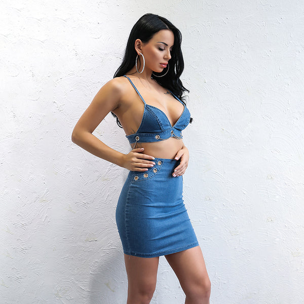 Blue Denim Two Piece Mini Dress