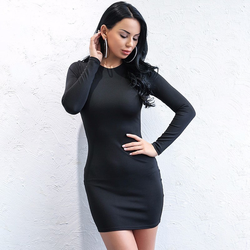 Black Backless Chain Strap Mini Dress